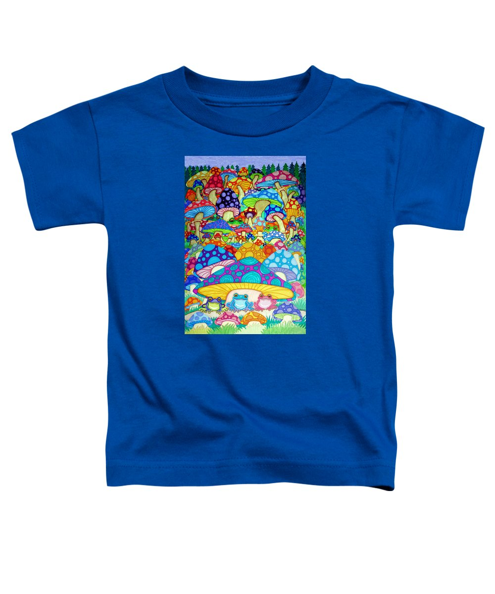 Frog Art Toddler T-Shirt featuring the drawing More Frogs Toads And Magic Mushrooms by Nick Gustafson