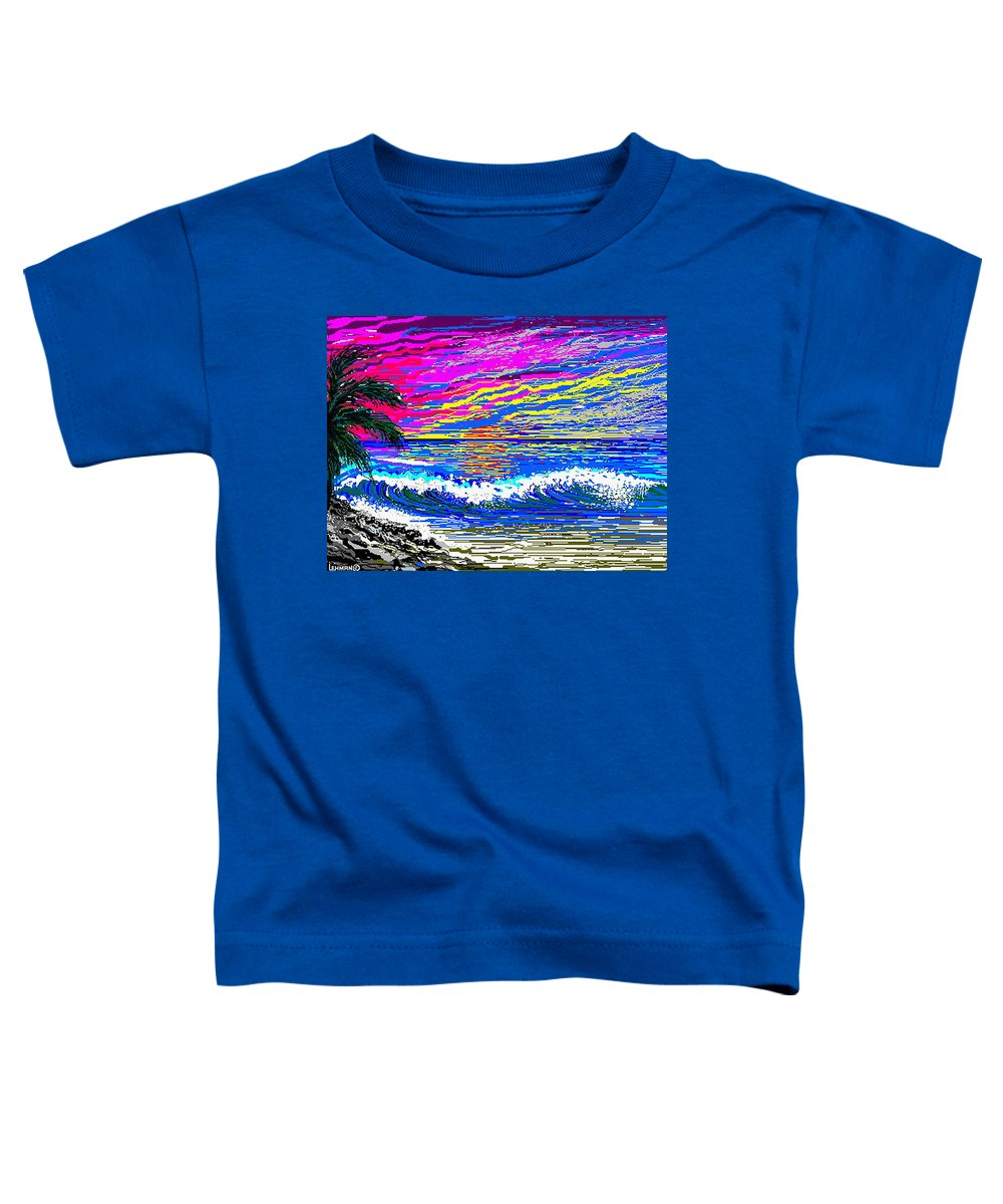 Ocean Sunset Quickly Sketched In One Hour. Toddler T-Shirt featuring the digital art Ocean Sunset by Larry Lehman