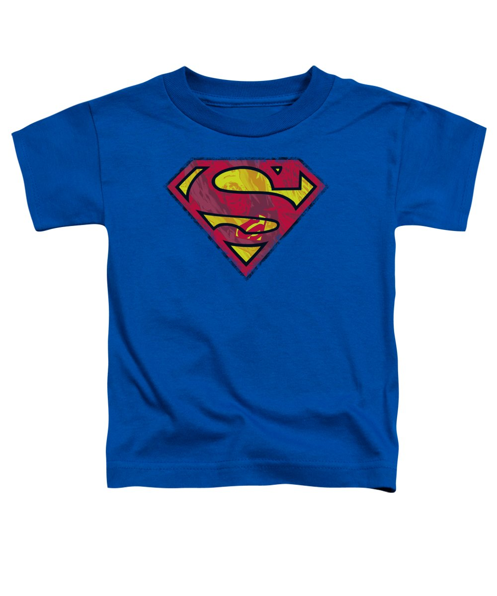 Superman Toddler T-Shirt featuring the digital art Superman - Action Shield by Brand A