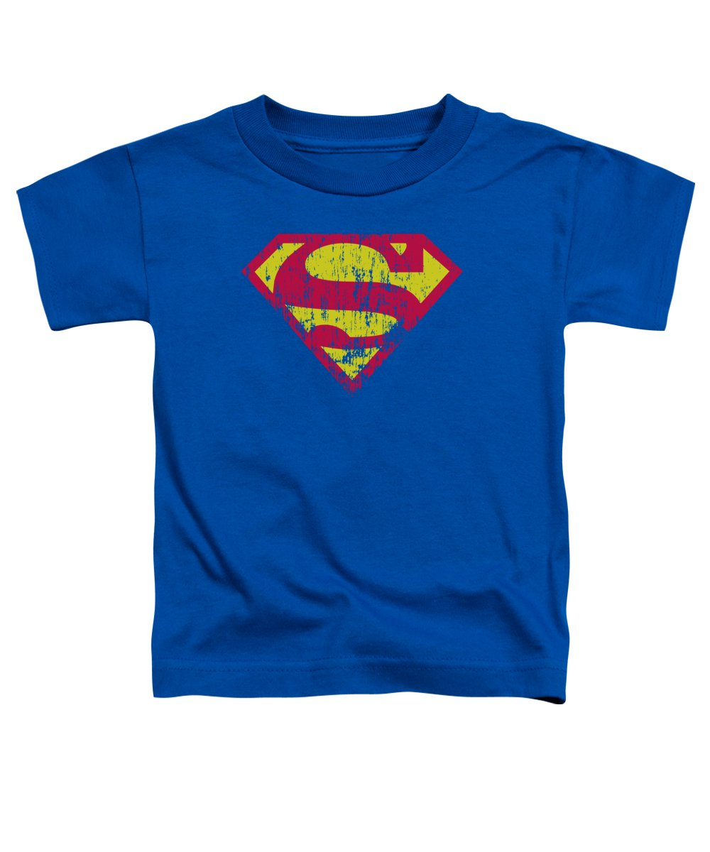 Superman Toddler T-Shirt featuring the digital art Superman - Classic Logo Distressed by Brand A