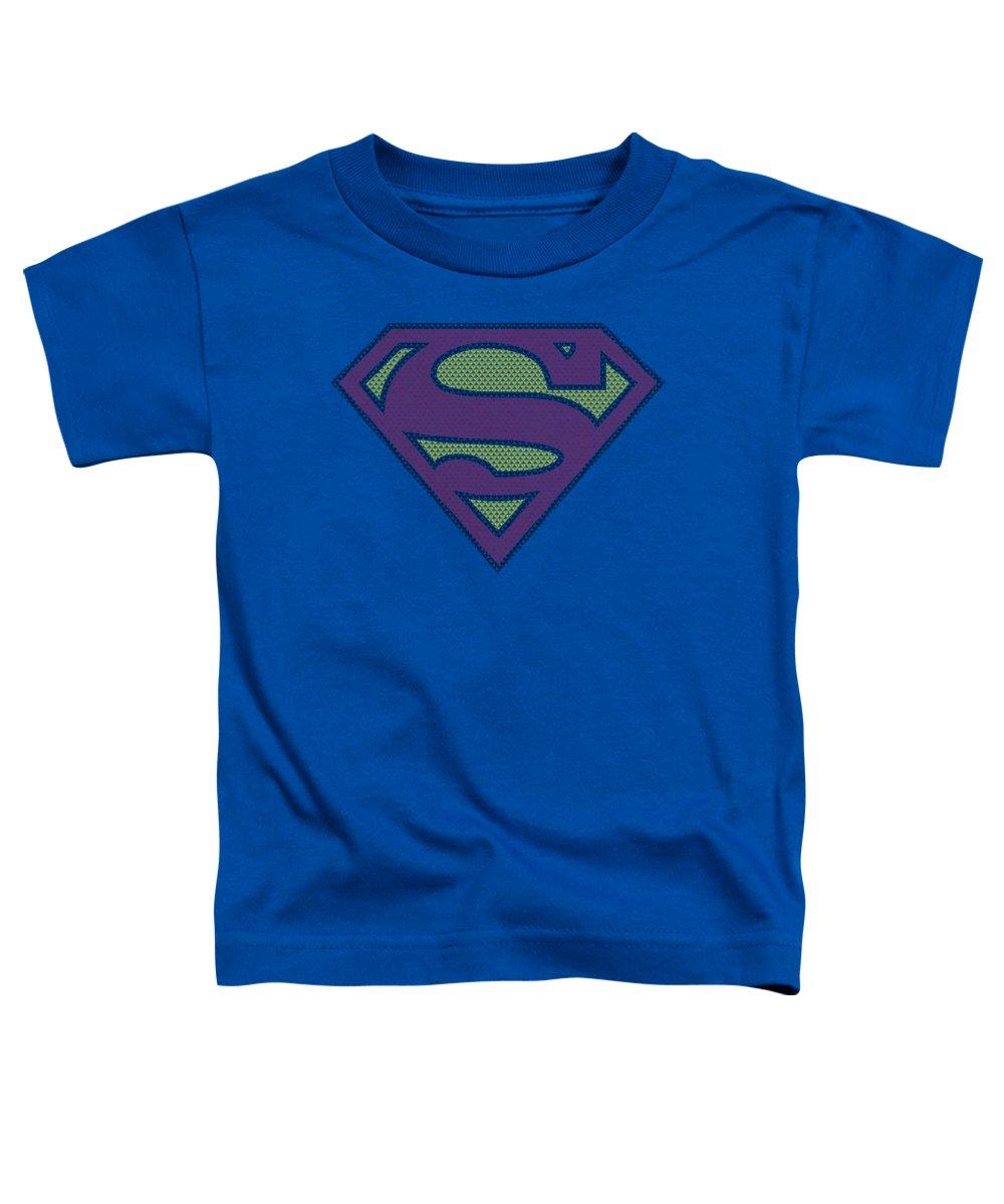 Superman Toddler T-Shirt featuring the digital art Superman - Little Logos by Brand A