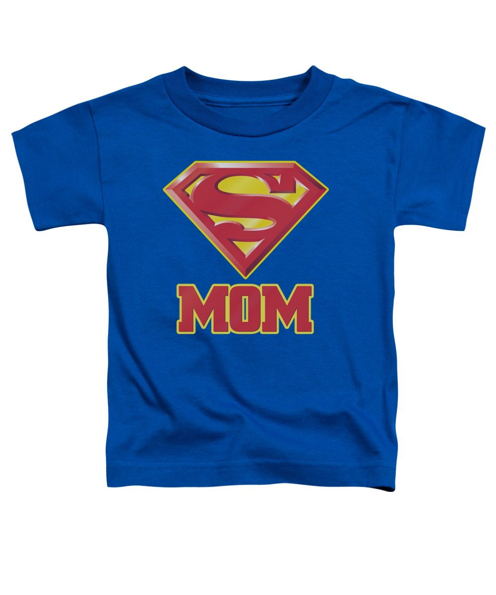 Superman Toddler T-Shirt featuring the digital art Superman - Super Mom by Brand A