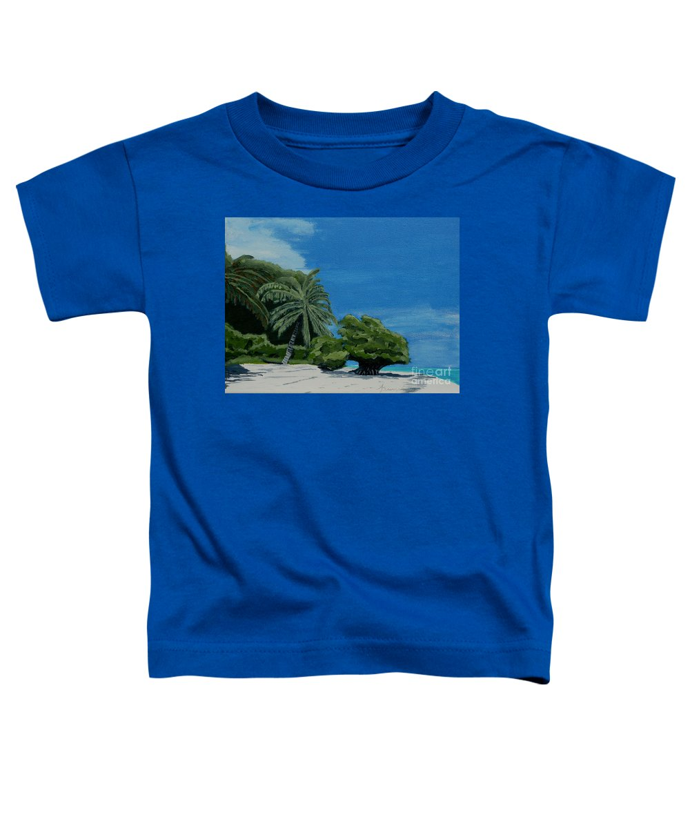 Beach Toddler T-Shirt featuring the painting Tropical Beach by Anthony Dunphy