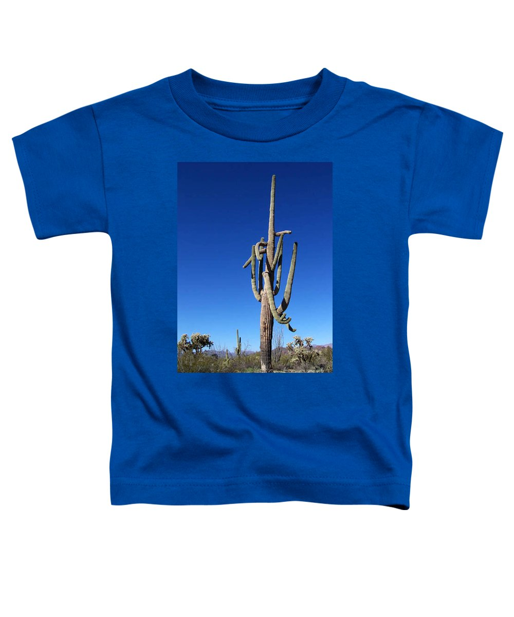 Sahuaro Toddler T-Shirt featuring the photograph Twisted Sentinal by Kathy McClure
