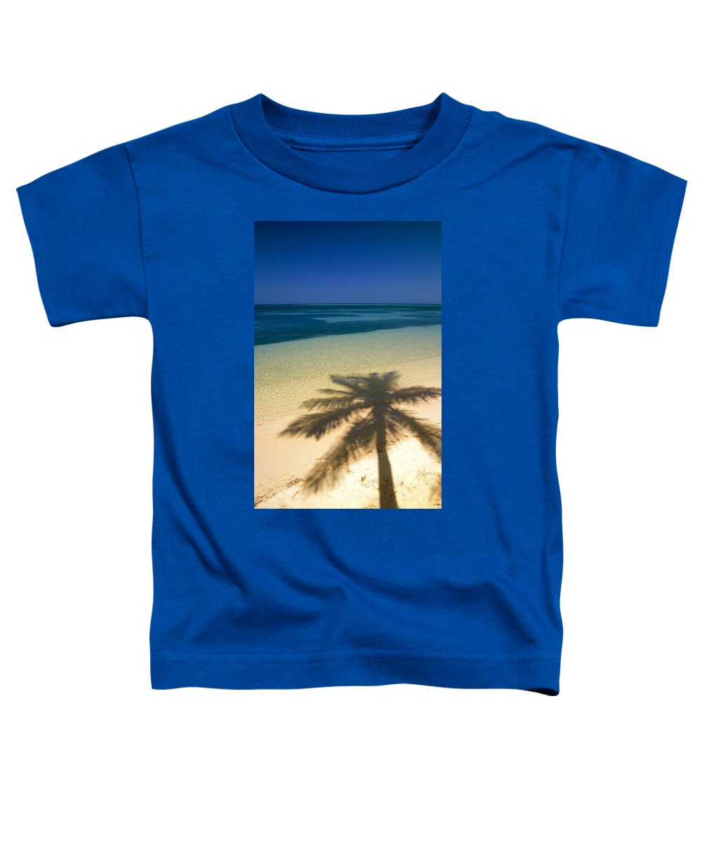 Beaches Toddler T-Shirt featuring the photograph Palm Tree Shadow And Ocean, Great by Ron Watts
