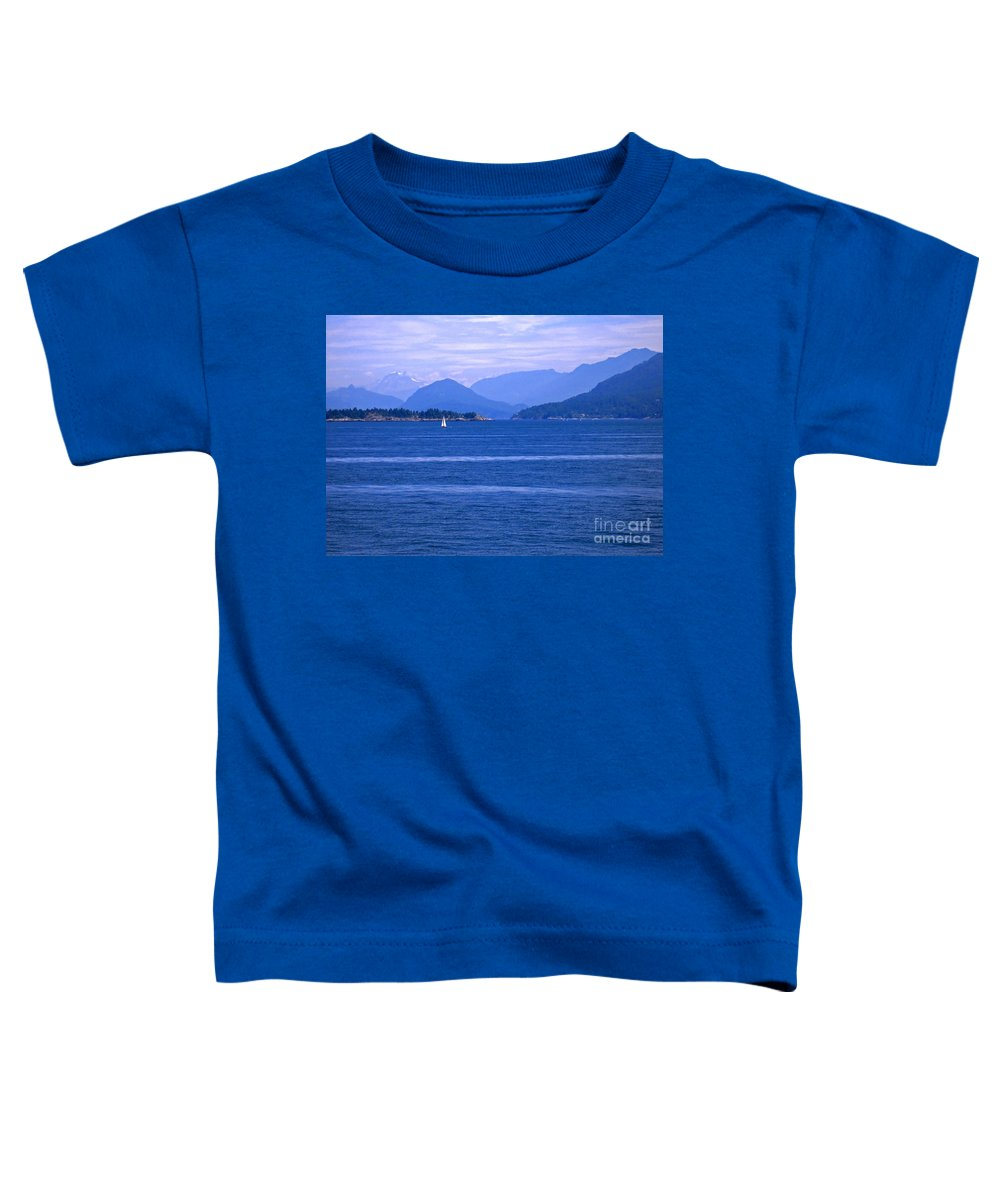 Sailboat Toddler T-Shirt featuring the photograph Solitary Sailing by Ann Horn