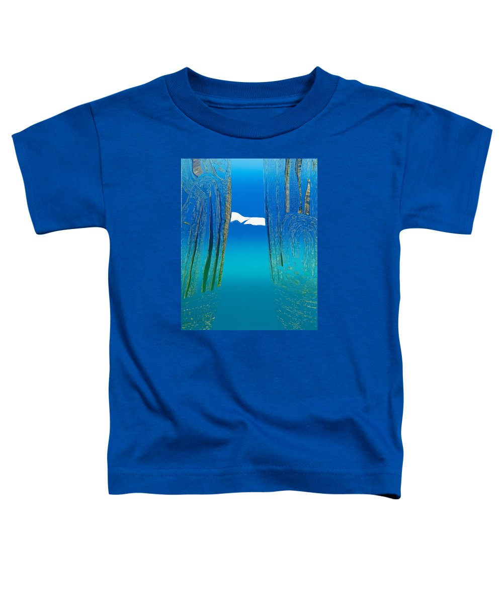 Landscape Toddler T-Shirt featuring the mixed media Between Two Mountains. by Jarle Rosseland