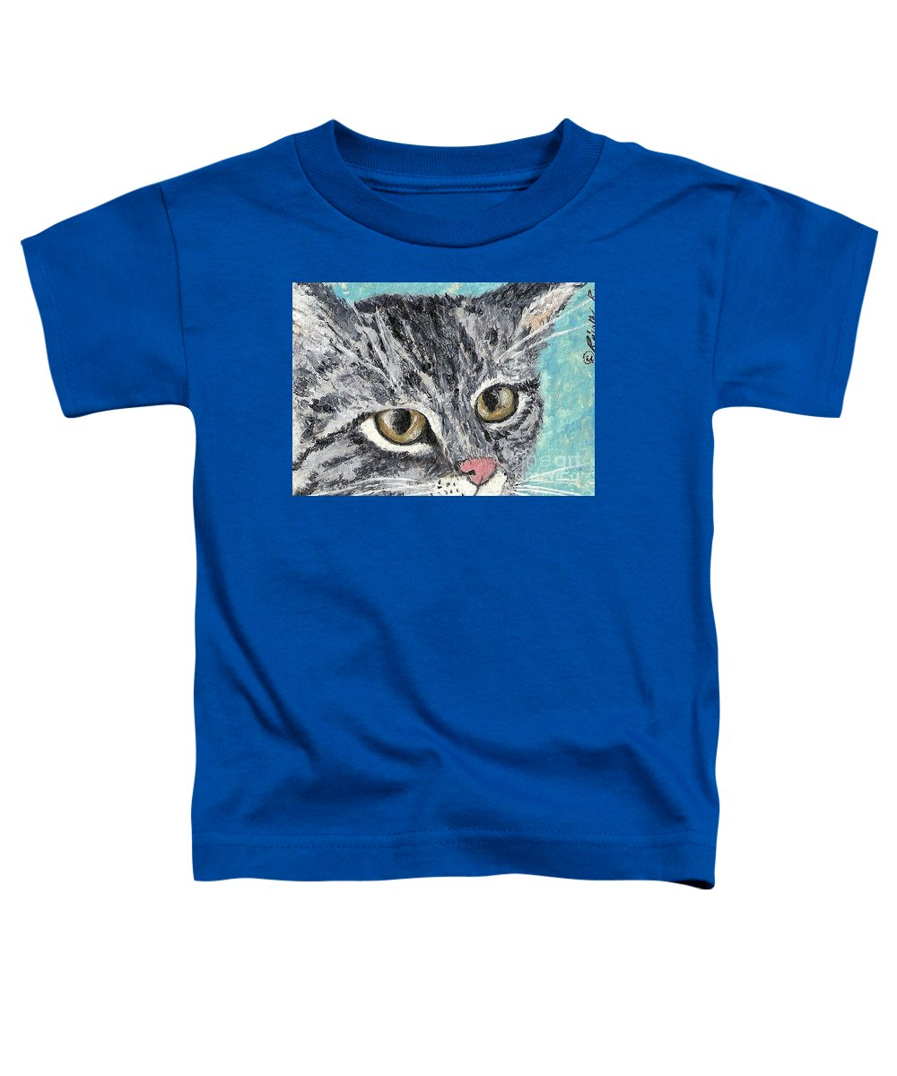 Cats Toddler T-Shirt featuring the painting Tiger Cat by Reina Resto