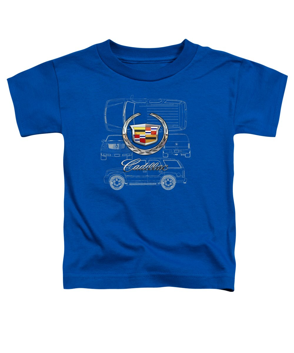 'wheels Of Fortune' By Serge Averbukh Toddler T-Shirt featuring the photograph Cadillac 3 D Badge over Cadillac Escalade Blueprint by Serge Averbukh