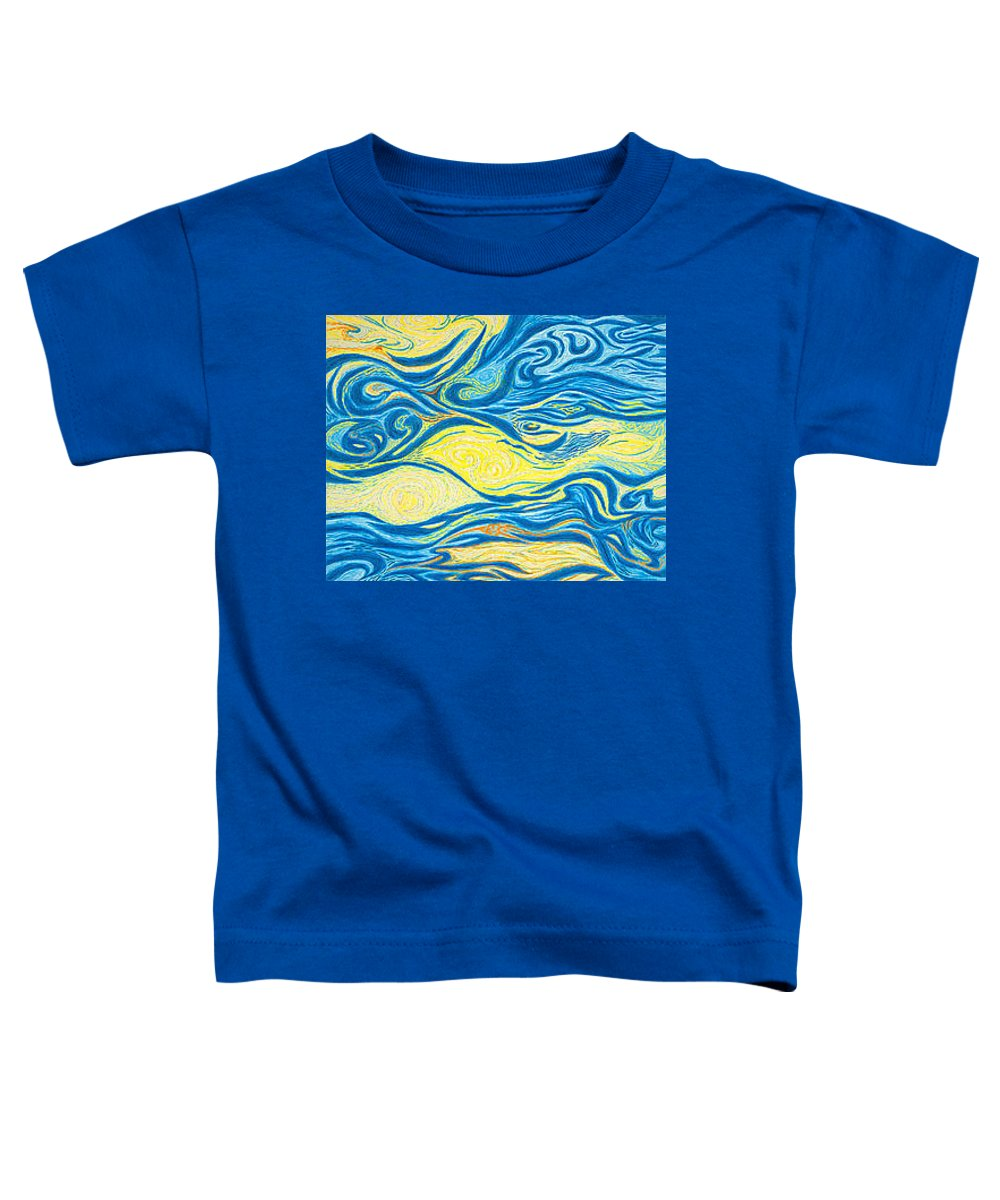Art Toddler T-Shirt featuring the drawing Abstract Art Good Morning Contemporary Modern Artwork Giclee Fine Art Prints Life Cycle Swirls Water by Baslee Troutman