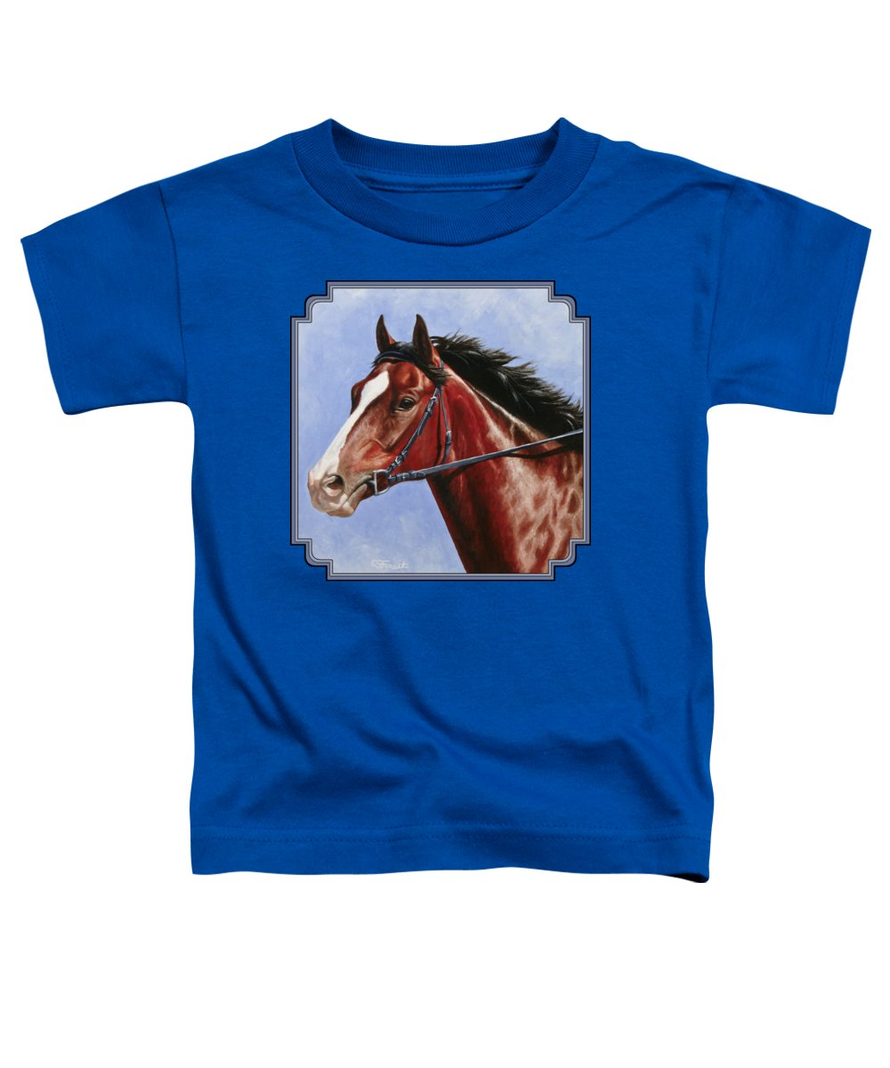 Horse Toddler T-Shirt featuring the painting Horse Painting - Determination by Crista Forest