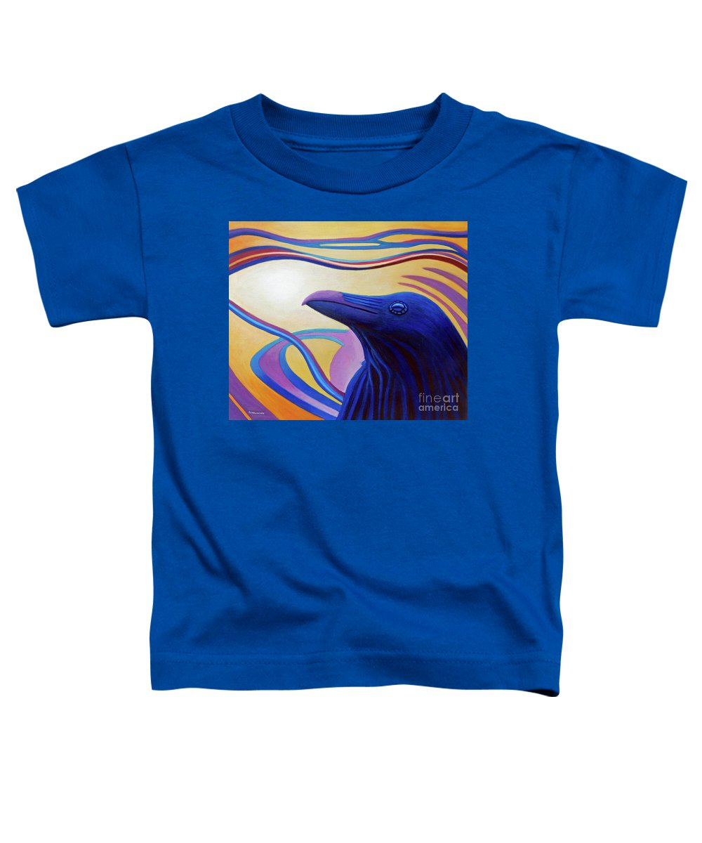 Raven Toddler T-Shirt featuring the painting Astral Raven by Brian Commerford