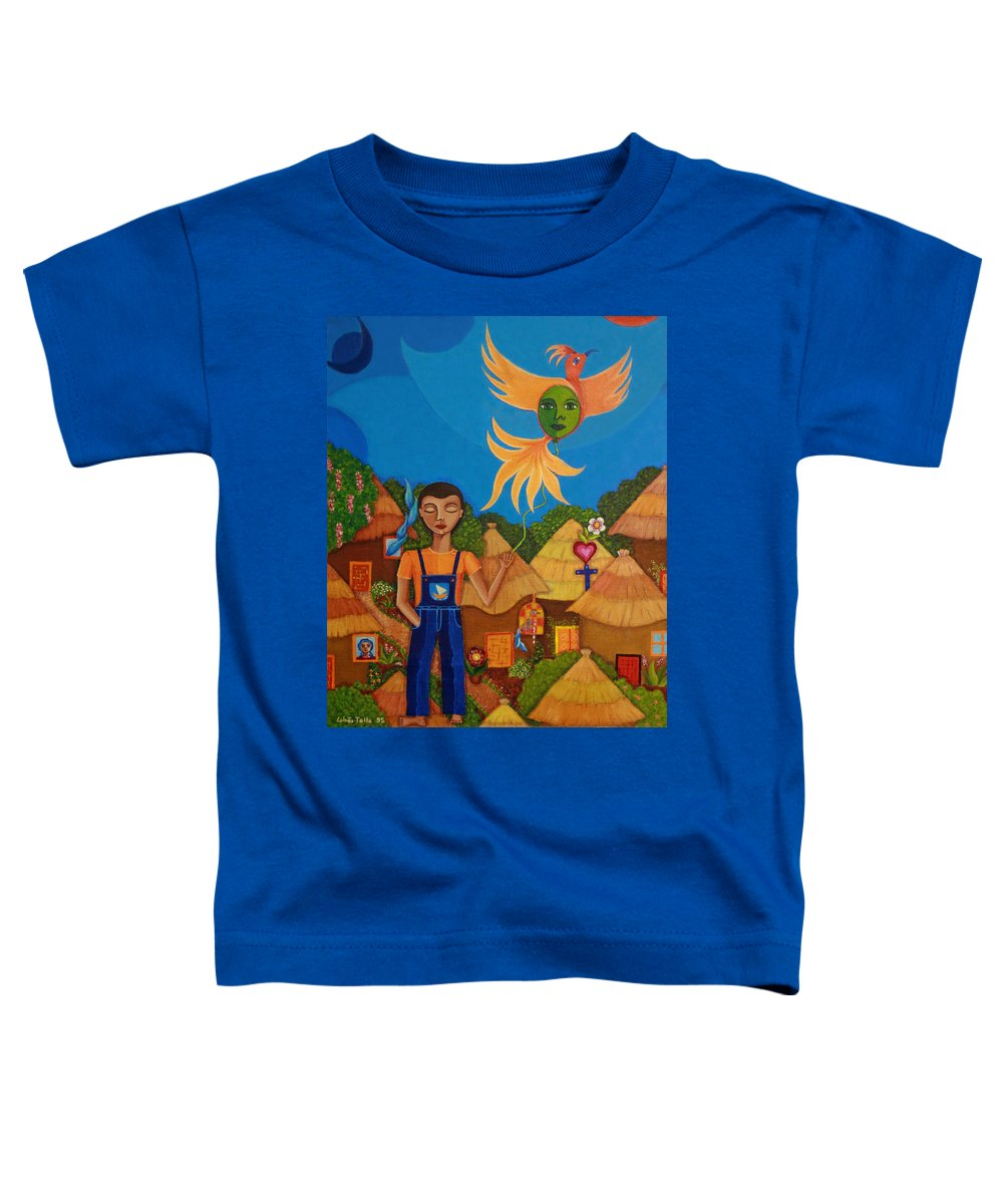 Autism Toddler T-Shirt featuring the painting Autism - A Flight To... by Madalena Lobao-Tello