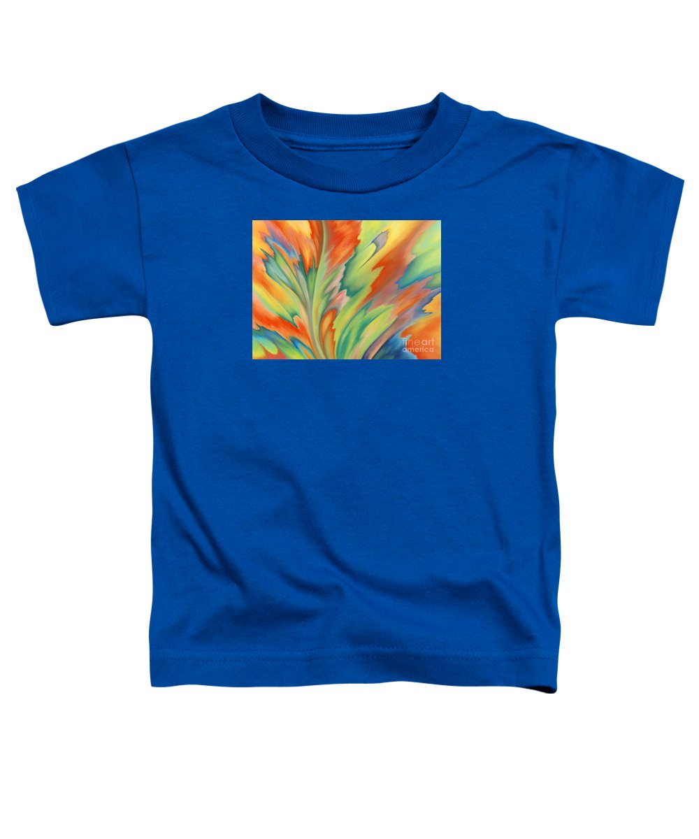 Abstract Toddler T-Shirt featuring the painting Autumn Flame by Lucy Arnold