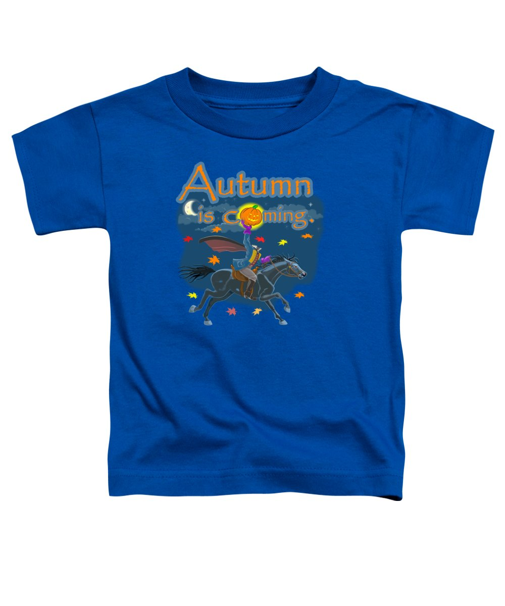 Sleepy Hollow Toddler T-Shirt featuring the mixed media Autumn Is Coming by J L Meadows