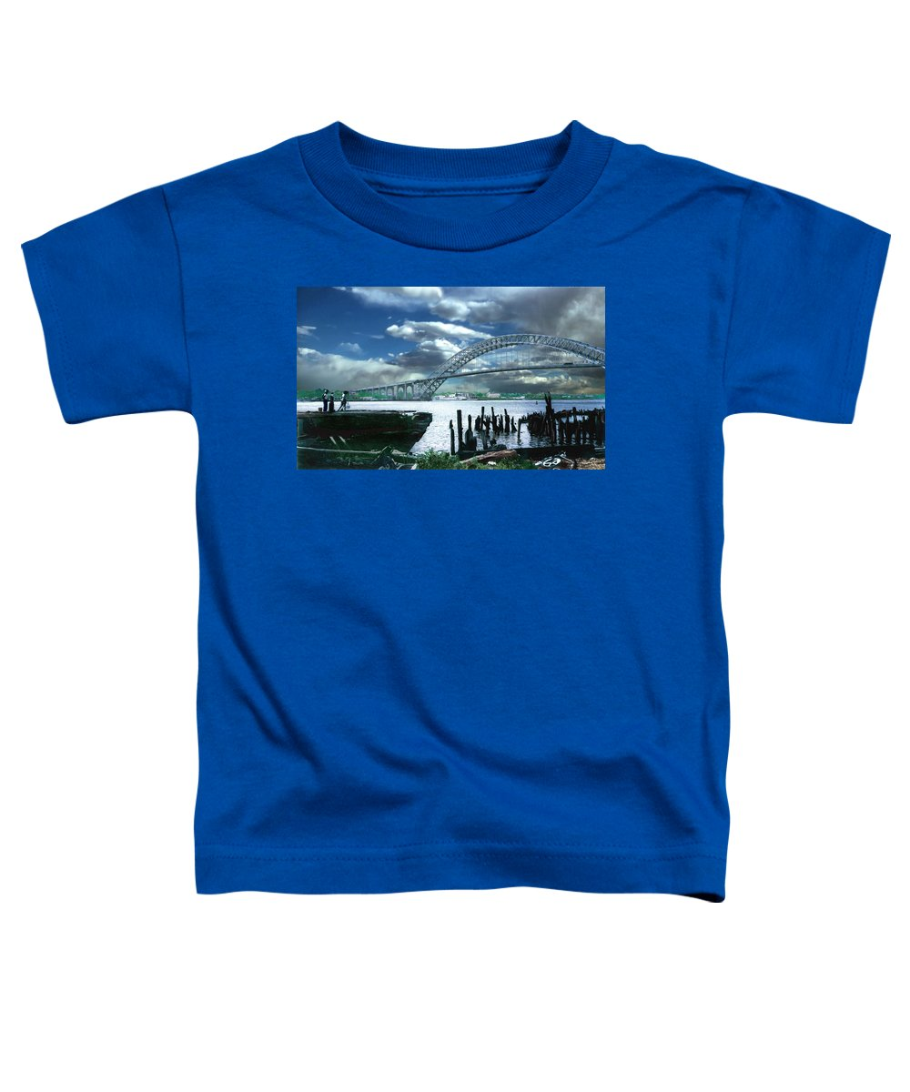 Seascape Toddler T-Shirt featuring the photograph Bayonne Bridge by Steve Karol