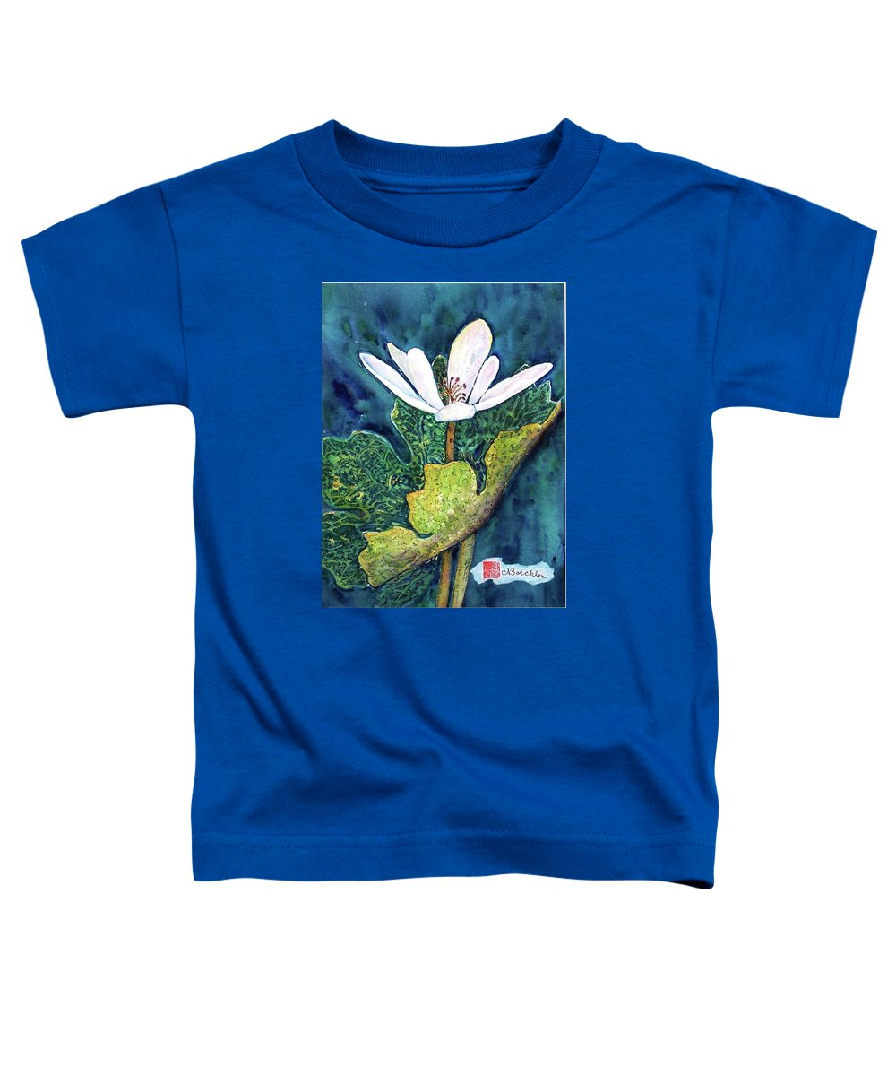 White Flower Toddler T-Shirt featuring the painting Blood Root by Norma Boeckler