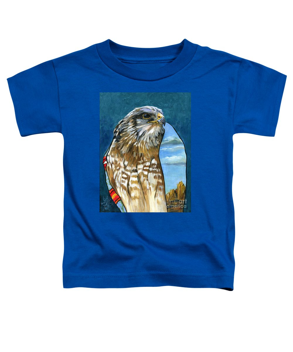 Hawk Toddler T-Shirt featuring the painting Brother Hawk by J W Baker