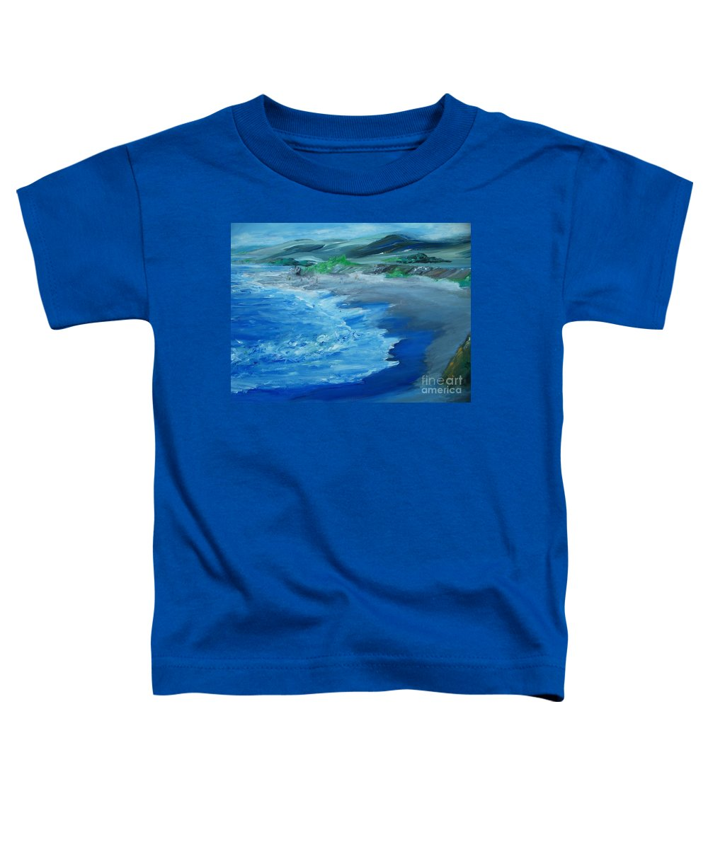 California Coast Toddler T-Shirt featuring the painting California Coastline Impressionism by Eric Schiabor
