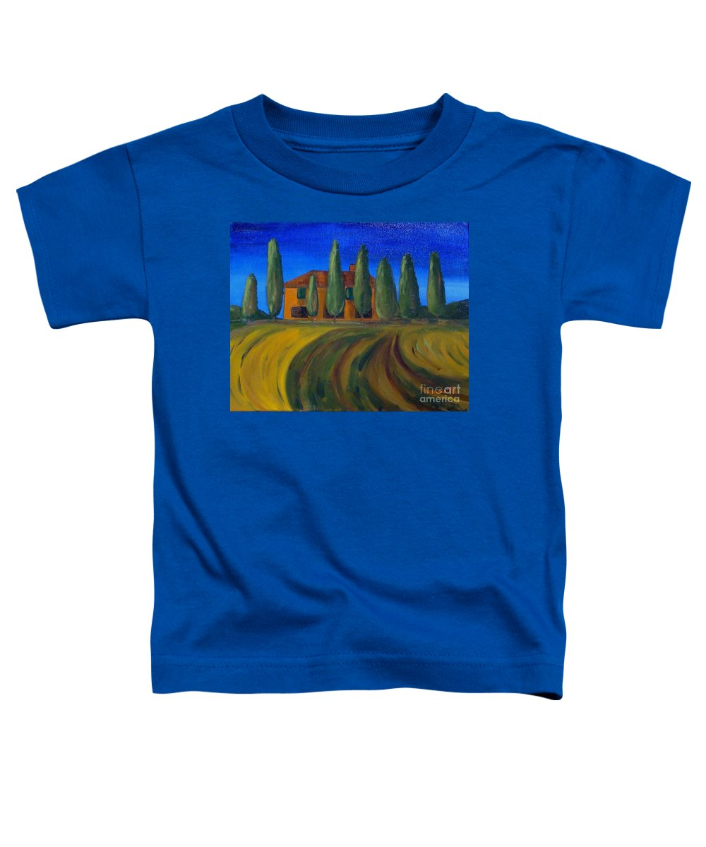 Tuscany Toddler T-Shirt featuring the painting Classic Tuscan Sunset by Laurie Morgan
