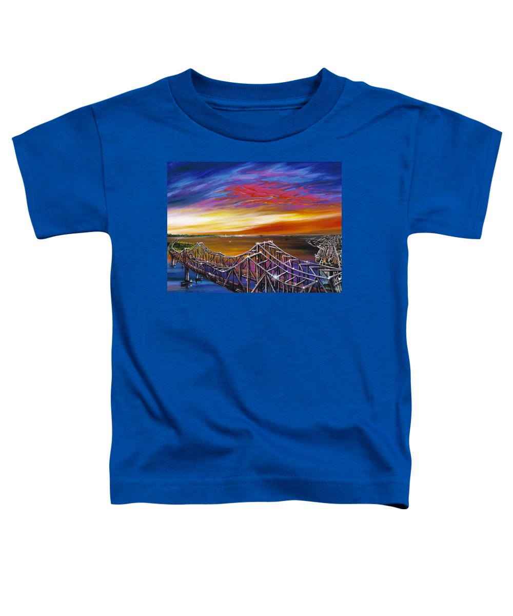 Clouds Toddler T-Shirt featuring the painting Cooper River Bridge by James Christopher Hill