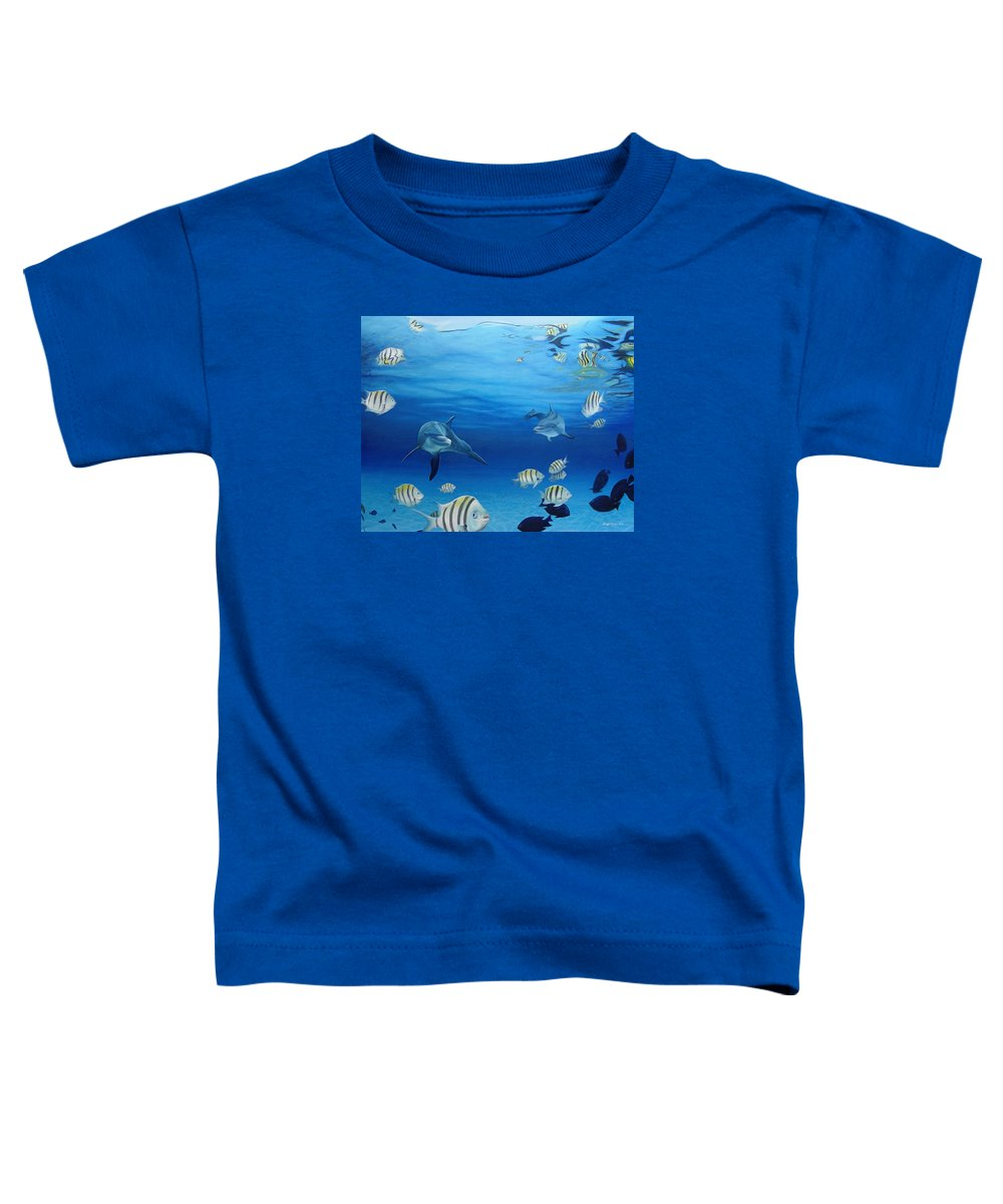Seascape Toddler T-Shirt featuring the painting Delphinus by Angel Ortiz