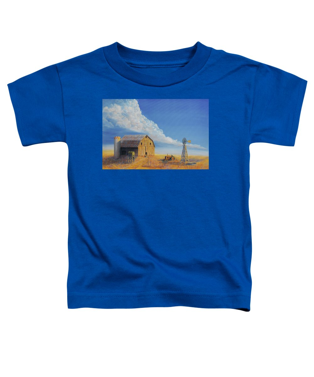 Barn Toddler T-Shirt featuring the painting Downtown Wyoming by Jerry McElroy