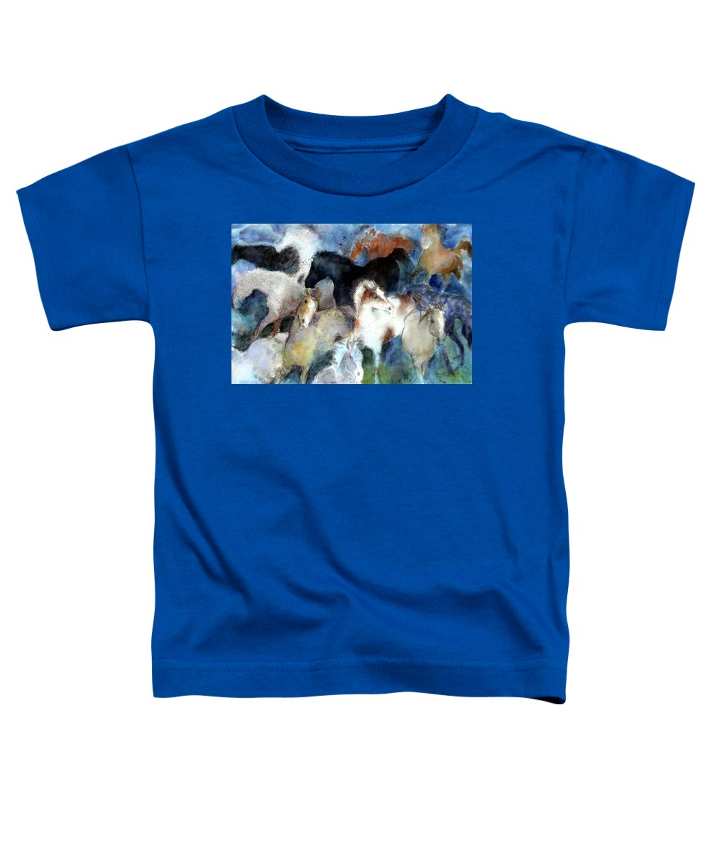 Horses Toddler T-Shirt featuring the painting Dream Of Wild Horses by Christie Michelsen