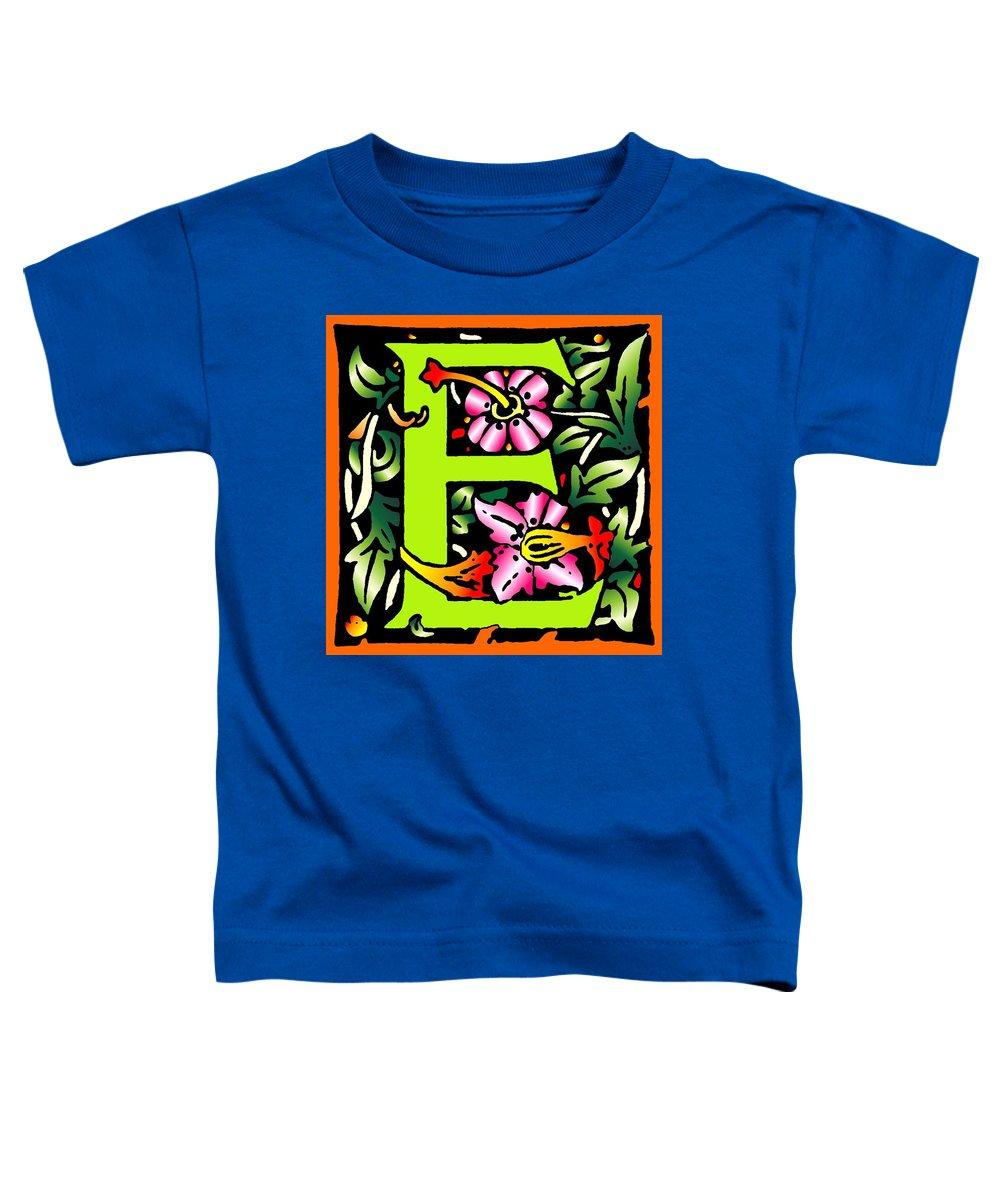 Alphabet Toddler T-Shirt featuring the digital art E In Green by Kathleen Sepulveda