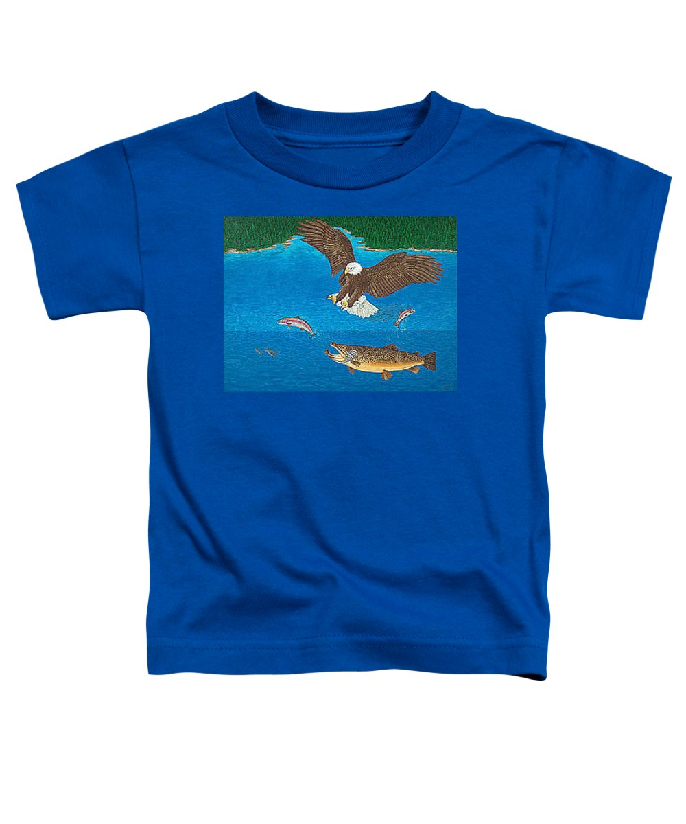 Art Print Prints Giclee Canvas Framed Brown Trout Eagle Lake Mountain Forest Nature Wildlife Wall Toddler T-Shirt featuring the painting Eagle Trophy Brown Trout Rainbow Trout Art Print Blue Mountain Lake Artwork Giclee Birds Wildlife by Baslee Troutman