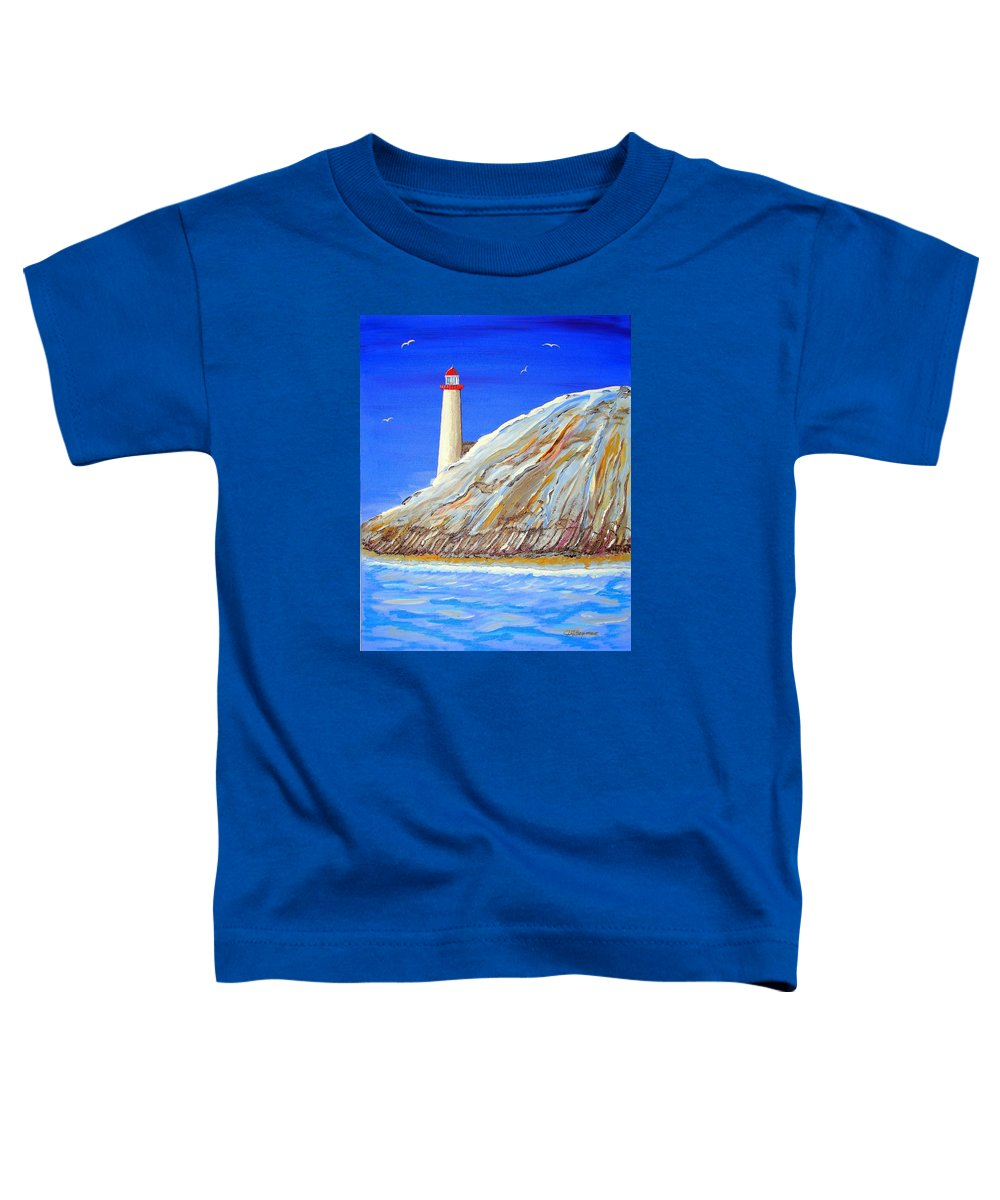 Lighthouse Toddler T-Shirt featuring the painting Entering The Harbor by J R Seymour