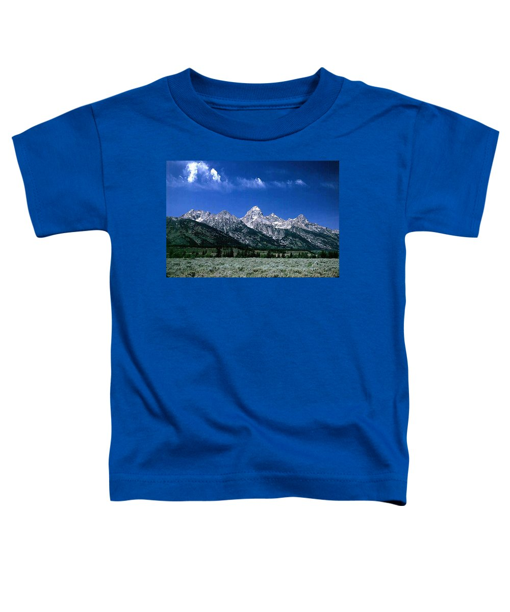 Mountains Toddler T-Shirt featuring the photograph First View Of Tetons by Kathy McClure