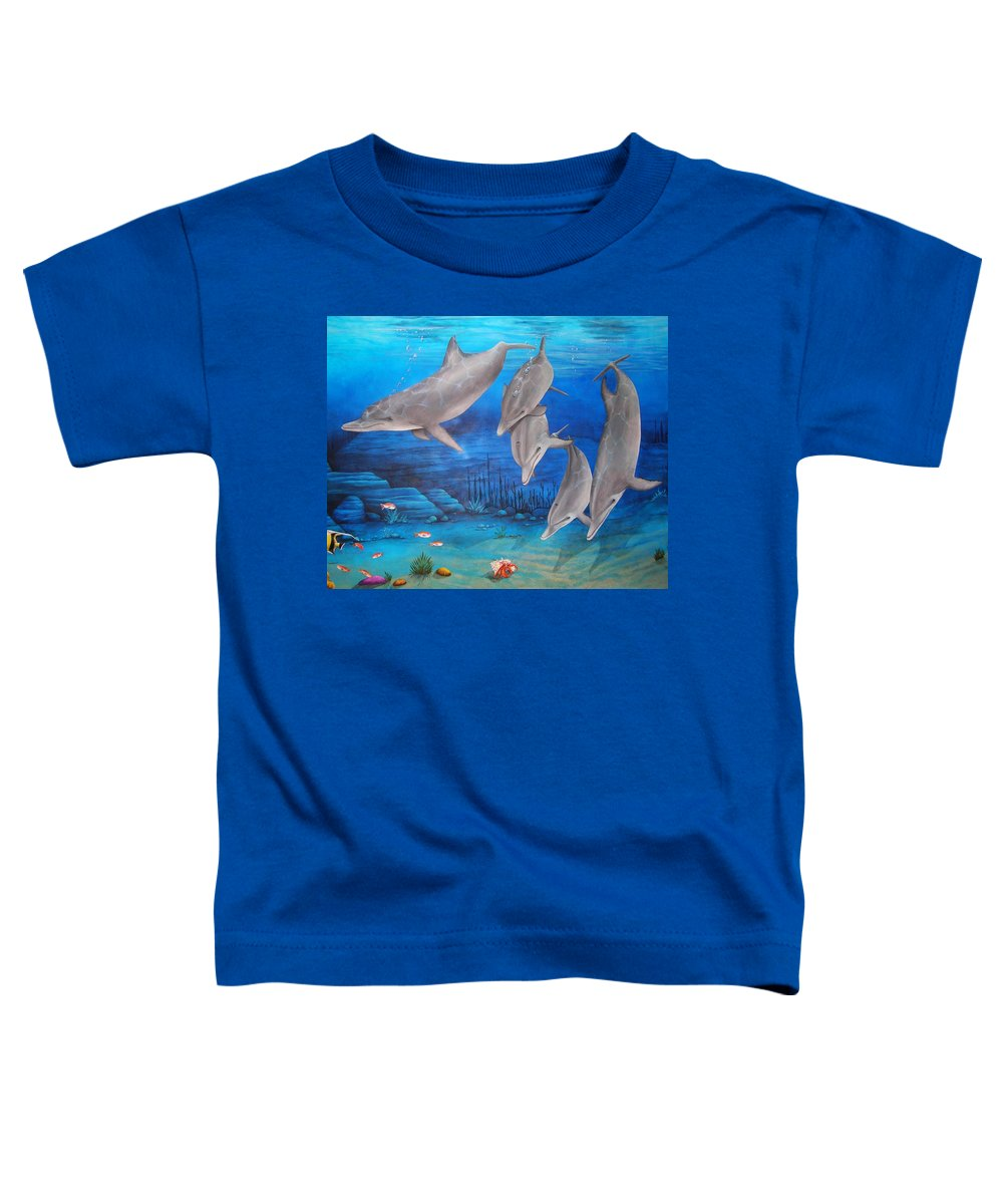 Dolphin Toddler T-Shirt featuring the painting Five Friends by Cindy D Chinn