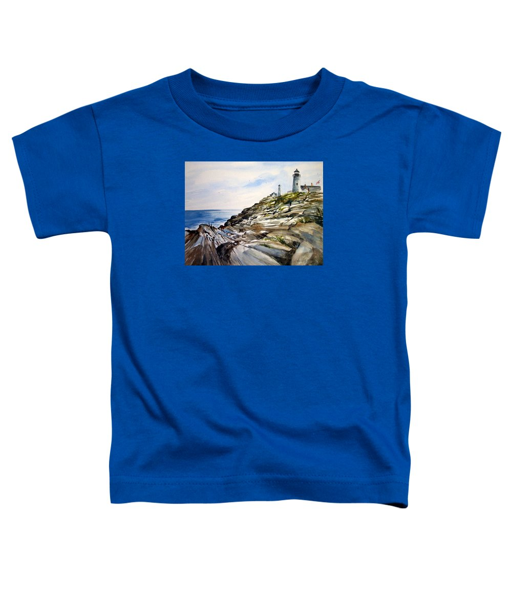 Pemaquid Light House;rocks;ocean;maine;pemaquid;light;lighthouse; Toddler T-Shirt featuring the painting From The Rocks Below by Lois Mountz