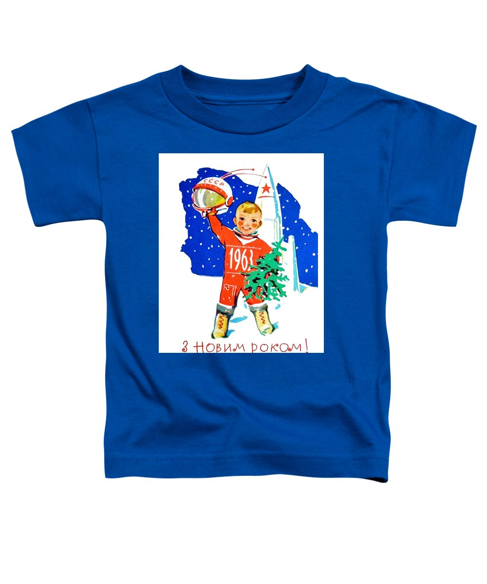Happy New Year Toddler T-Shirt featuring the digital art Happy New Year From Little Soviet Astronaut by Long Shot