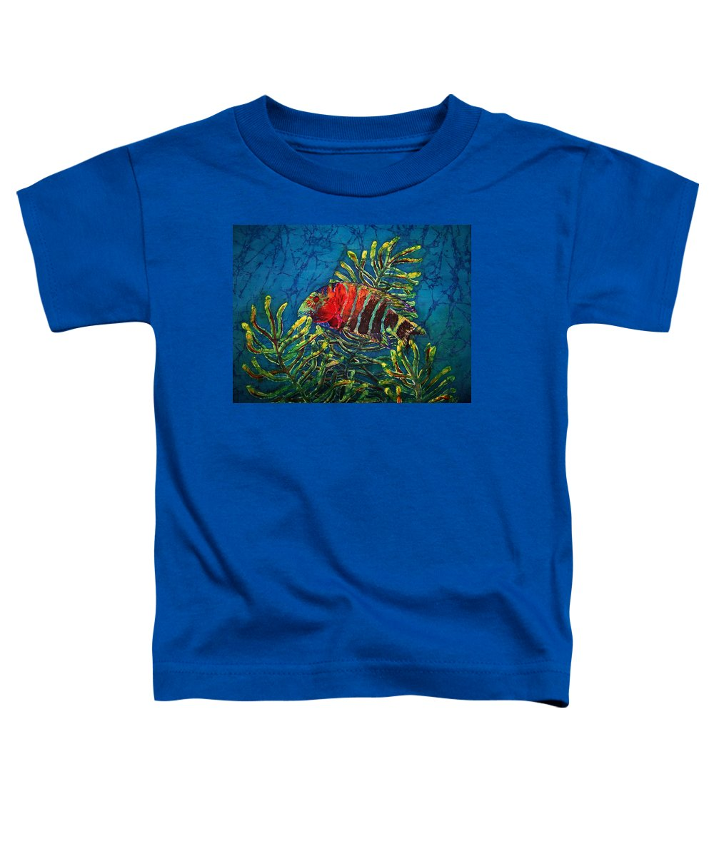 Fish Toddler T-Shirt featuring the painting Hovering - Red Banded Wrasse by Sue Duda