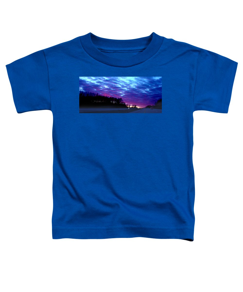 Landscape Toddler T-Shirt featuring the photograph I70 West Ohio by Steve Karol