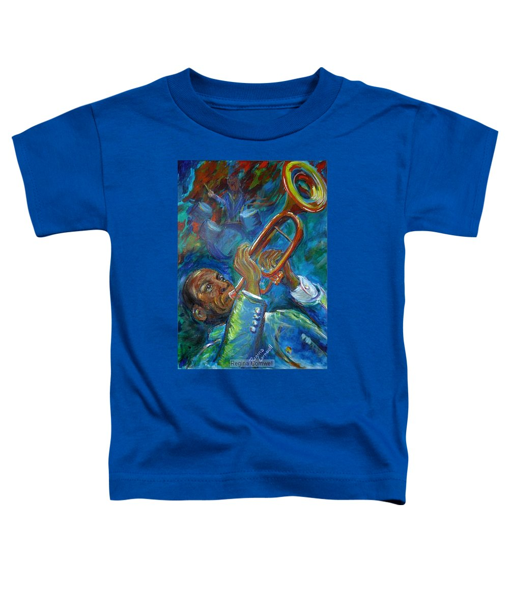Jazz Toddler T-Shirt featuring the painting Jazz Man by Regina Walsh