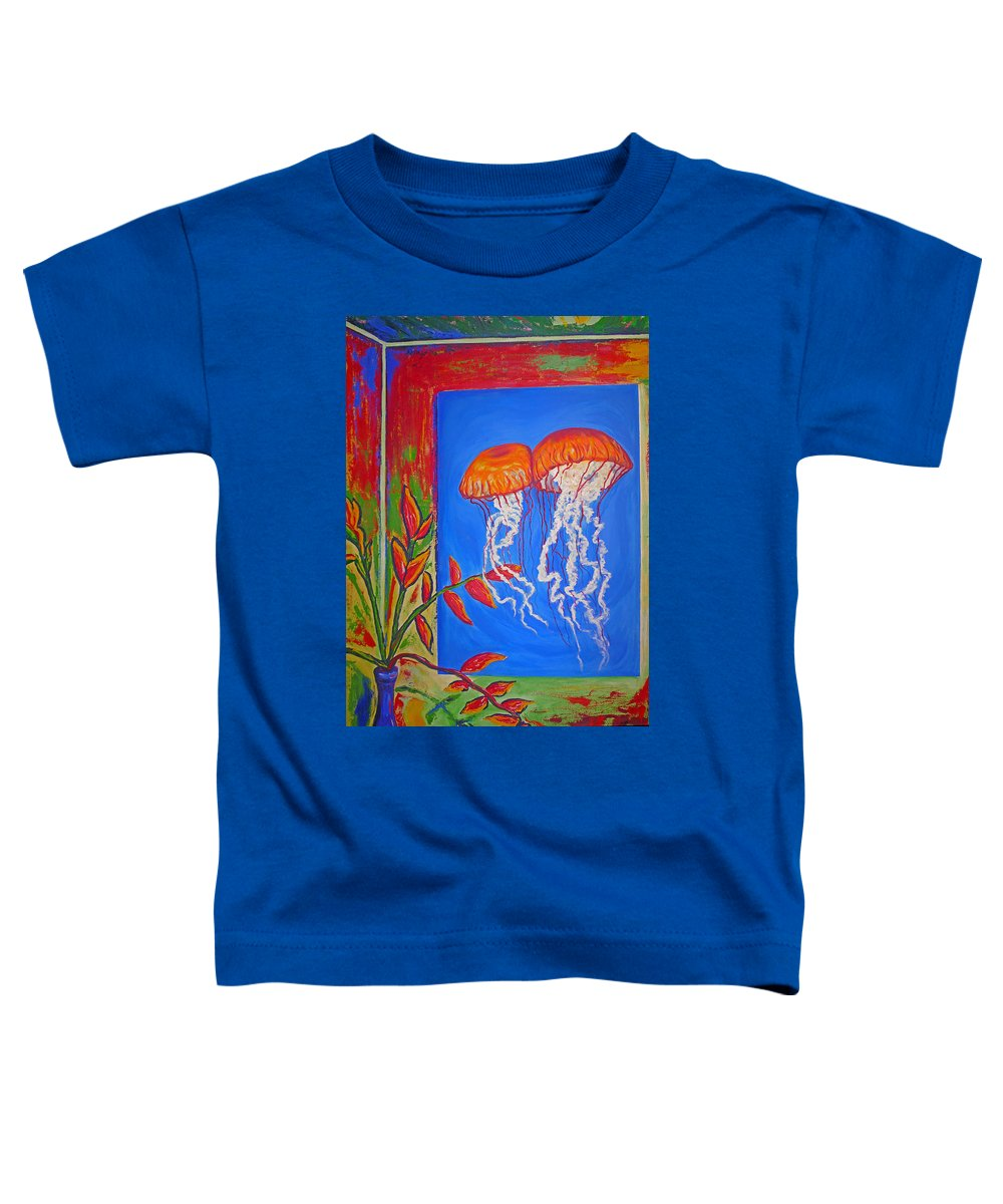 Jellyfish Toddler T-Shirt featuring the painting Jellyfish With Flowers by Ericka Herazo