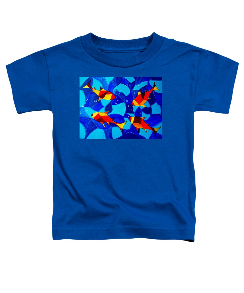 Abstract.acrylic.fish.bubbles.art.painting.modern.contemporary.popblue Red Bubbles Yellow Landscape Toddler T-Shirt featuring the painting Joy Fish Abstract by Manjiri Kanvinde