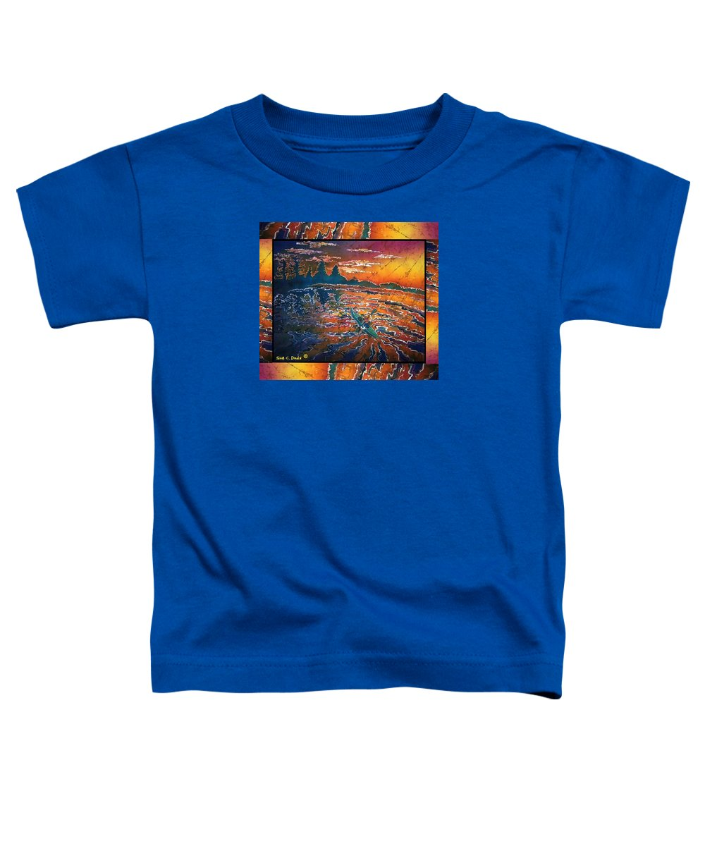 Kayak Toddler T-Shirt featuring the painting Kayaking Serenity - Bordered by Sue Duda