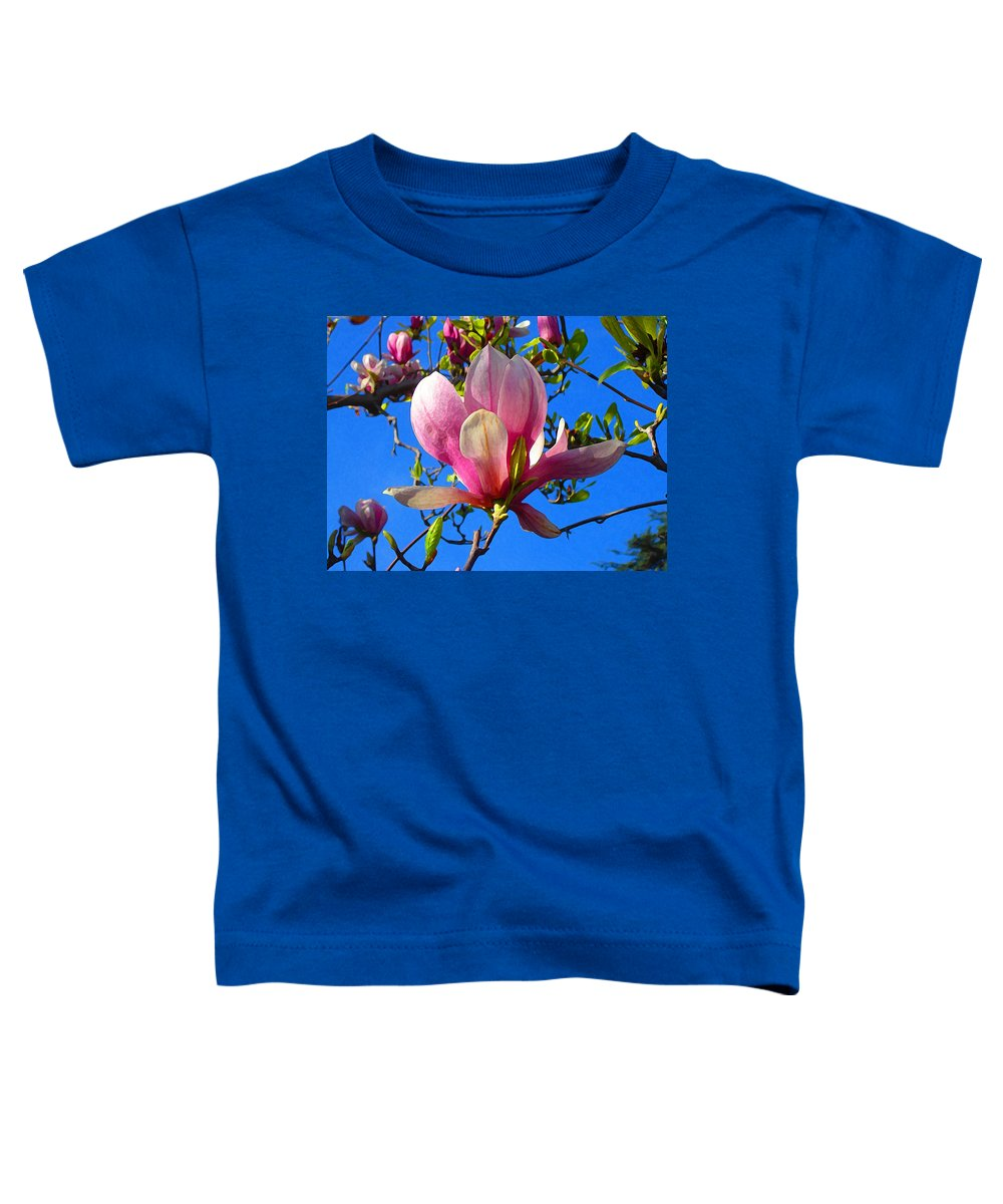 Magnolia Toddler T-Shirt featuring the painting Magnolia Flower by Amy Vangsgard