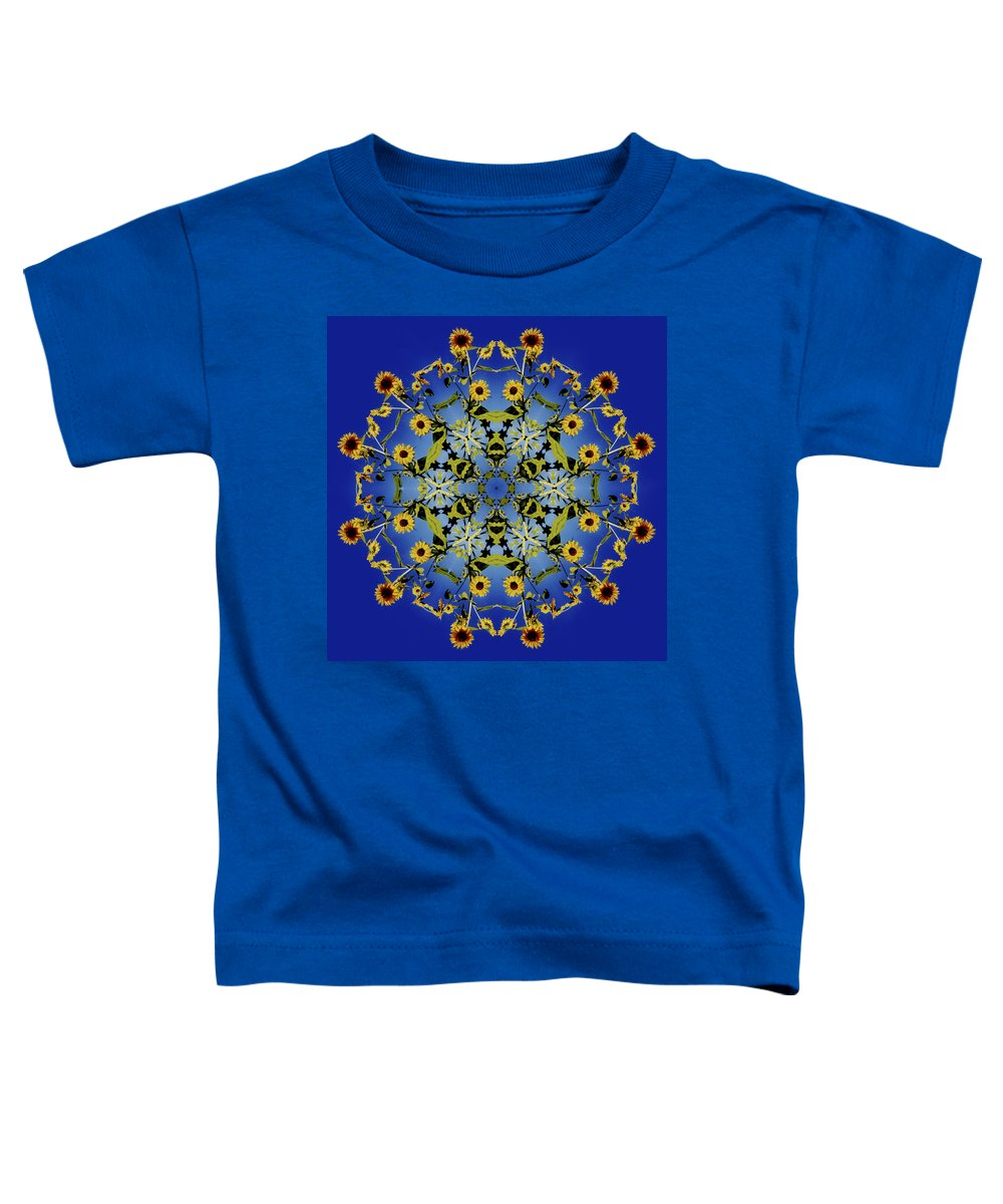 Mandala Toddler T-Shirt featuring the digital art Mandala Sunflower by Nancy Griswold
