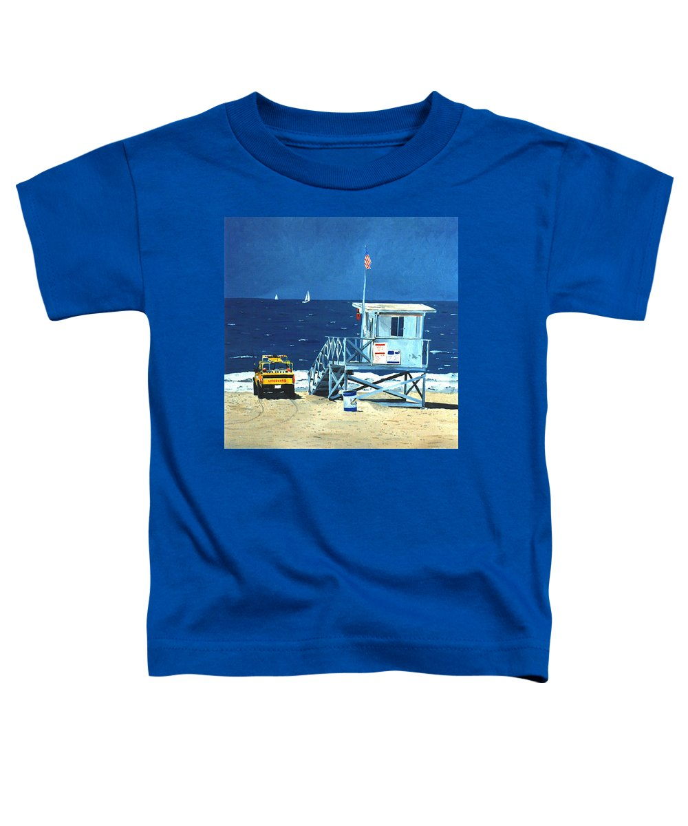 Modern Toddler T-Shirt featuring the painting Manhattan Beach Lifeguard Station by Lance Headlee