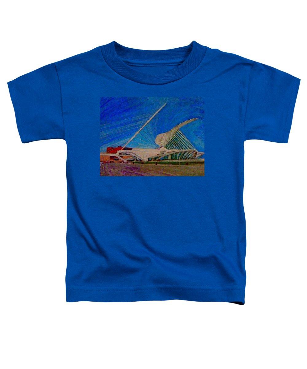 Mam Toddler T-Shirt featuring the mixed media Milwaukee Art Museum by Anita Burgermeister