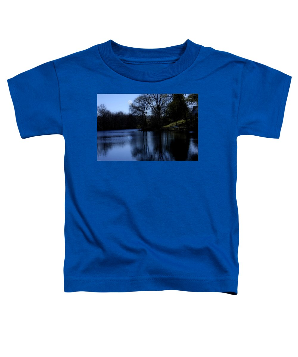 Moon Toddler T-Shirt featuring the digital art Moon Over The Charles by Edward Cardini