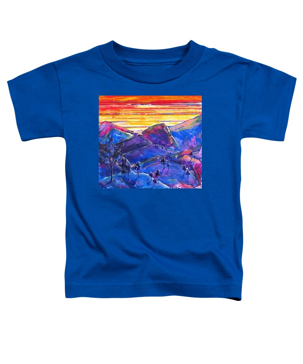 Mountains Toddler T-Shirt featuring the painting Mountainscape Blue by Rollin Kocsis