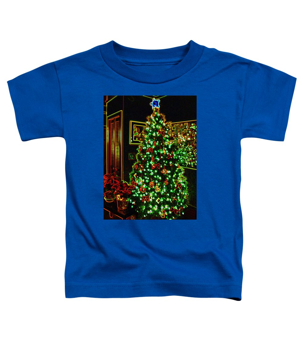 Christmas Toddler T-Shirt featuring the photograph Neon Christmas Tree by Nancy Mueller