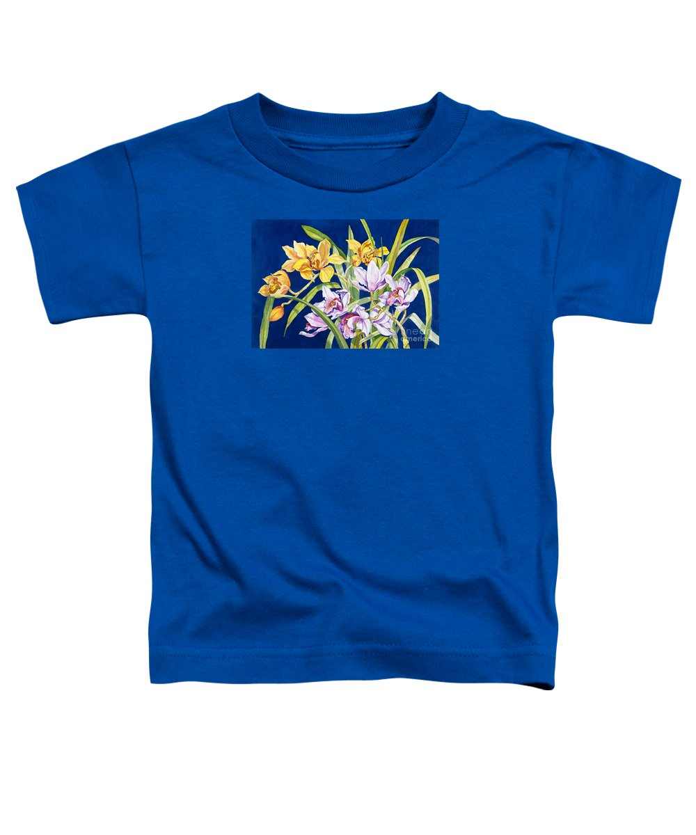 Orchids Toddler T-Shirt featuring the painting Orchids In Blue by Lucy Arnold