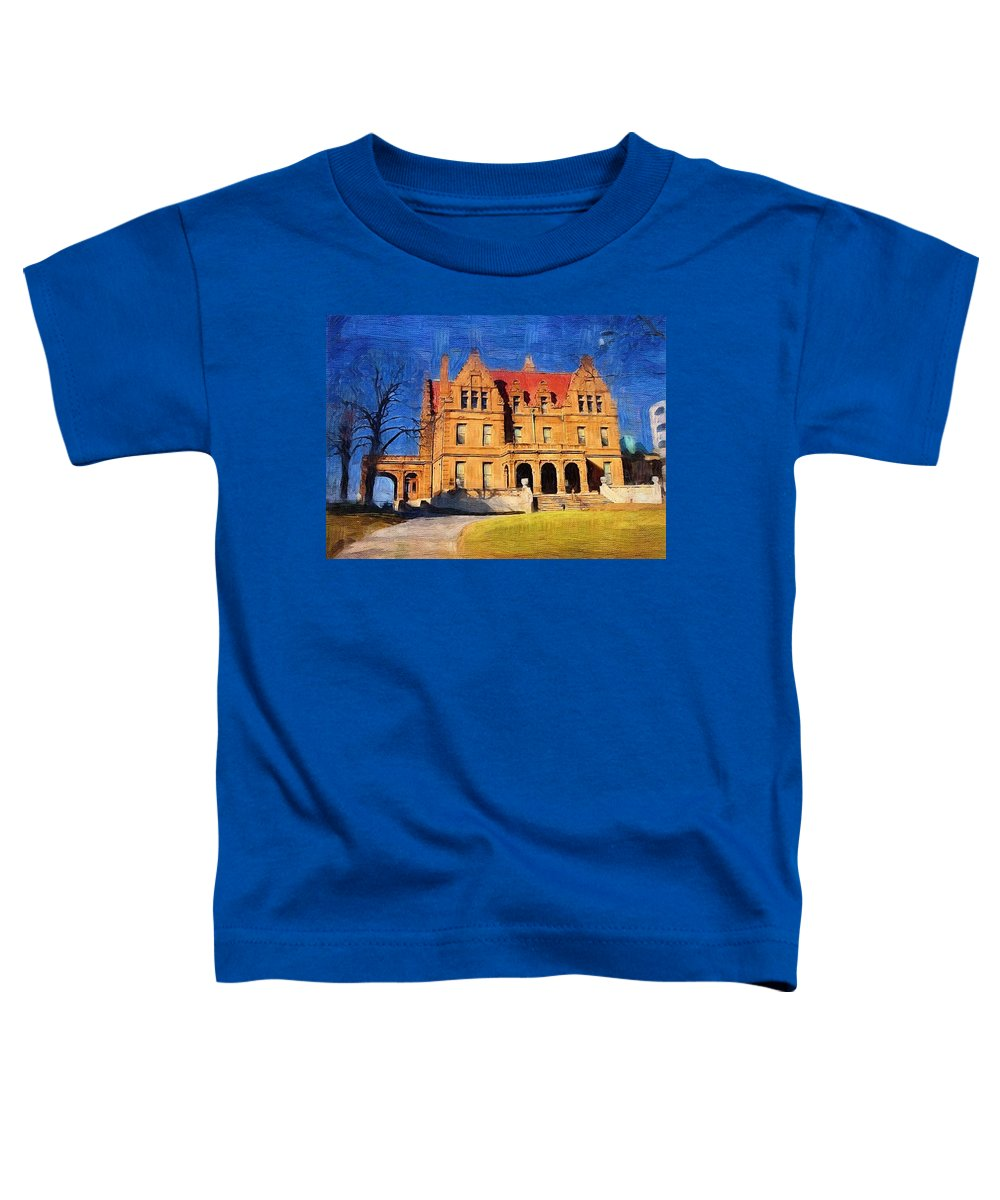 Architecture Toddler T-Shirt featuring the digital art Pabst Mansion by Anita Burgermeister